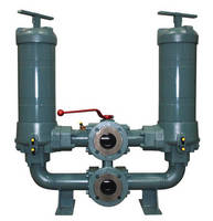 In-Line Duplex Filter handles 350 gpm at 150 SUS.