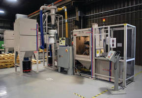 Robotic Surface Preparation System blasts trays of components.
