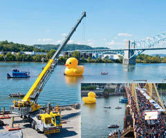 ALL Erection & Crane Rental of Pennsylvania, LLC Uses Grove TMS9000 to Lift Giant Rubber Duck in Pittsburgh