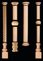 Wood Columns add ornamentation to fixtures.