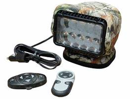 Remote Control LED Hunting Spotlight has magnetic mounting base.