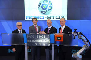 ROBO-STOX Marks Launch of Global Robotics and Automation Index ETF with Robot Hand Ringing NASDAQ Closing Bell