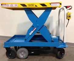 Ergonomic Motorized Scissor Lift handles 2,500 lb loads.