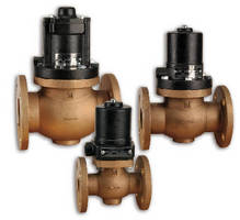 Two-Way Solenoid Valves feature flanged ends.