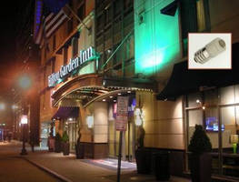 LED Bulbs Save Energy and Re-Lamping Cost on Hilton Garden Inn Marquis Canopy Sign