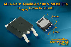 Automotive Power MOSFETs offer RDS(on) down to 8.9 mOhm.