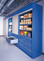 Wall Storage System reaches from floor to ceiling.