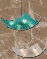 Glass Pendant Light Fixtures feature crinkle fused design.