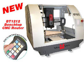 Benchtop CNC Router operates via handheld controller.
