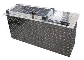 Solar Powered Battery Box secures and recharges batteries.