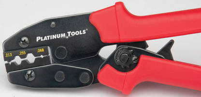 Ergonomic Crimping Tool offers smooth ratcheted crimp cycle.