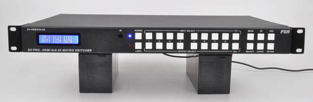 Matrix Switcher routes 8 HD sources to 8 displays.