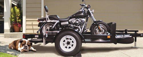 Heavy-Duty Trailer can transport motorcycles, ATVs, lawnmowers.