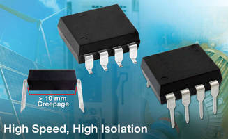 High-Isolation Optocouplers are capable of data rates to 10 MBd.