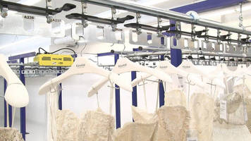 Overhead Enclosed Track Conveyors are suited for garment handling.