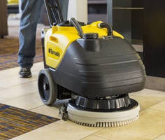 Compact Cordless Floor Scrubber immediately picks up solution.