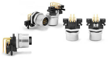 M12 8-Pin Receptacles feature right-angled PCB contacts.
