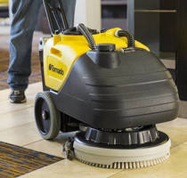 Compact Floor Scrubber can clean up to 16,000 ft²/hr.