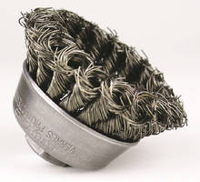 Knotted-Wire Cup Brushes clean metal surfaces.
