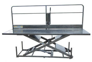 Heavy-Duty Stainless Steel Lift Table is offered with safety rail.