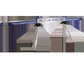 Crowd Control Barrier adjusts from 4-10 ft long.