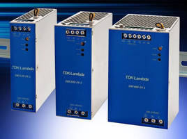 DIN Rail Mount 120-480 W Power Supplies deliver 94% efficiency.