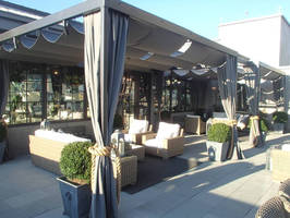 Patio Lane Designs Custom Pergola Cover for the New Restoration Hardware's Rooftop in Atlanta