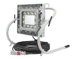 Portable LED Work Light features adjustable aluminum frame.