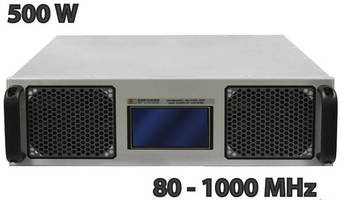 Portable, 3U, 500 W Power Amplifier covers 80-1,000 MHz.