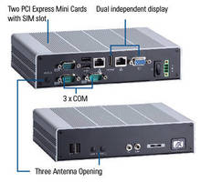 Fanless Embedded Box Computer operates from 10-34 Vdc input.