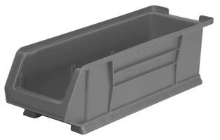 Large-Capacity Plastic Storage Bins are stackable and durable.