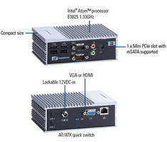 Fanless Embedded Box Computer has rugged, IP40 construction.