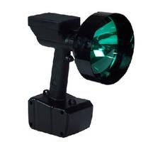 Handheld HID Spotlight features green lens.