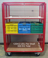 Secure Mobile Storage Cages feature adjustable shelving.