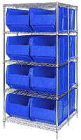 Wire Shelving System accommodates twelve 42 in. bins.