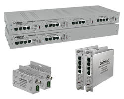 Ethernet-Over-Copper Extenders support PoE+ and pass through.