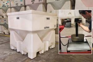 Waste-Reducing Hopper dispenses dry products in measured amounts.