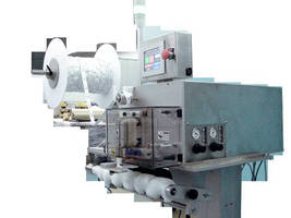 Pouch Dispenser features motor-fed precision cutting.