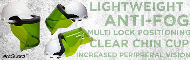 Faceshield provides arc flash head protection.
