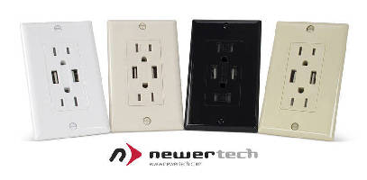 Electrical Wall Outlet integrates 2 USB ports.