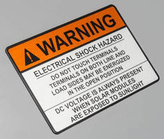 Durable Identification Placards meet solar industry requirements.