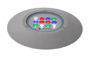 LED Ground Luminaire provides wall washing and uplighting.