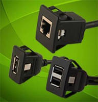 Snap-In Panel Mount Cables accelerate secure installation.