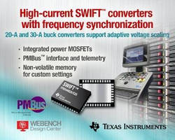 High-Current DC/DC Buck Converters support AVS, reduced EMI.