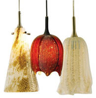Decorative Glass LED Pendants feature gold highlights.