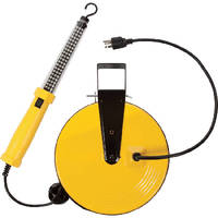 LED Task Light includes 50 ft retractable cord reel.