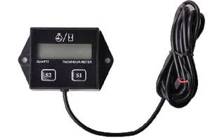 LCD Tachometer/Hour Meter utilizes replaceable battery.