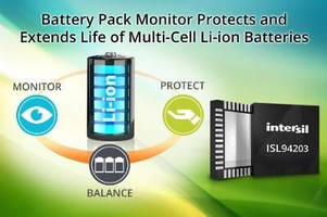 Battery Pack Monitor protects multi-cell Li-ion batteries.