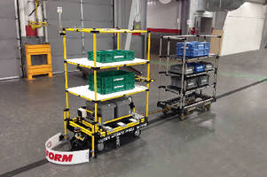 Creform AGV Tugger with Shelves Provides Ability to Tow Carts for Added Capacity and Capability