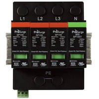 Pluggable 4-Pole 3-Phase SPDs have DIN rail-mount design.